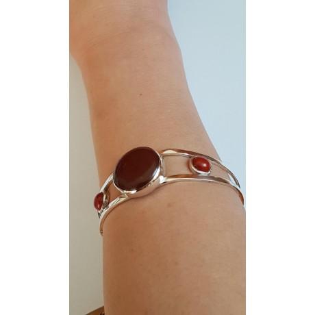 Sterling silver cuff Red Feast, Bijuterii de argint lucrate manual, handmade