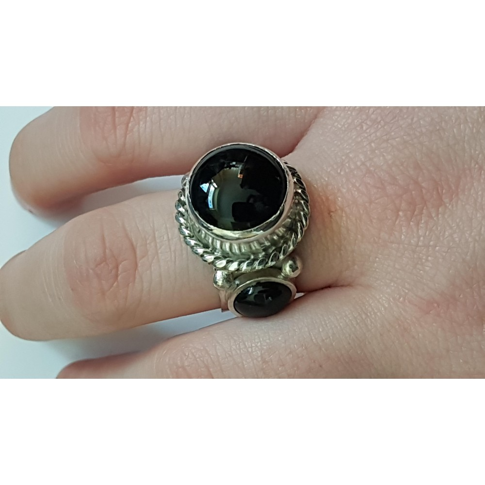 Sterling silver ring with natural onyx Black Resources
