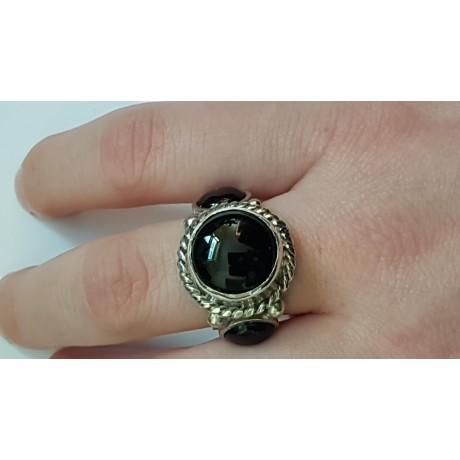 Sterling silver ring with natural onyx Black Resources, Bijuterii de argint lucrate manual, handmade