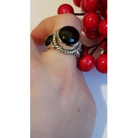 Sterling silver ring with natural onyx Black in Thrice