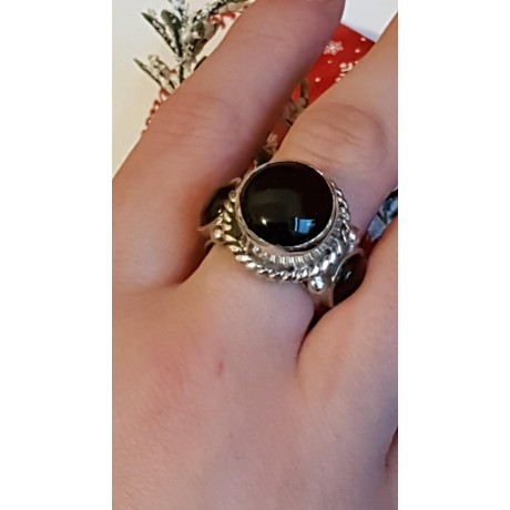 Sterling silver ring with natural onyx Black in Thrice, Bijuterii de argint lucrate manual, handmade