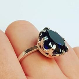 Sterling silver ring Sapphire Shadows, Bijuterii de argint lucrate manual, handmade