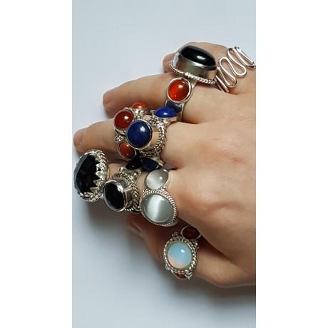 Sterling silver ring Red Charmers, Bijuterii de argint lucrate manual, handmade