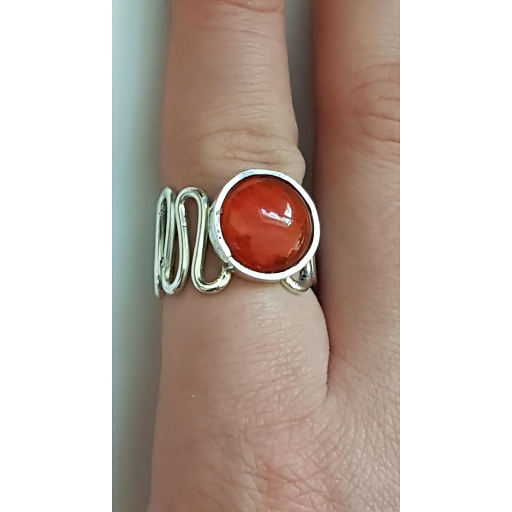 Sterling silver ring with natural carnelian Red Whims