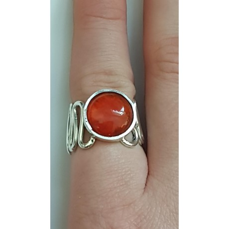 Sterling silver ring with natural carnelian Red Whims, Bijuterii de argint lucrate manual, handmade