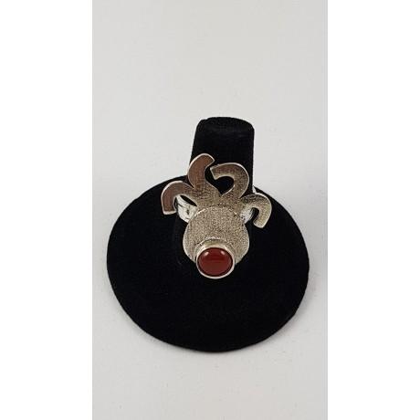 Sterling silver ring with natural carnelian Rouge Octopus, Bijuterii de argint lucrate manual, handmade