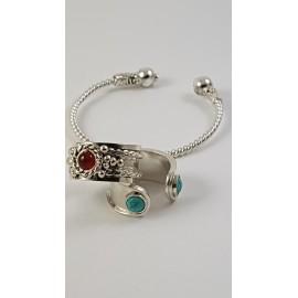 Sterling silver cuff Silverknit, Bijuterii de argint lucrate manual, handmade