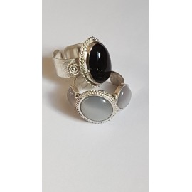 Sterling silver ring with natural onyx Dark Romance