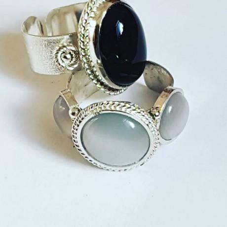 Sterling silver ring with natural onyx Dark Romance, Bijuterii de argint lucrate manual, handmade