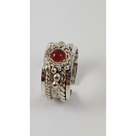 Sterling silver ring with natural carnelian Red Blooom, Bijuterii de argint lucrate manual, handmade