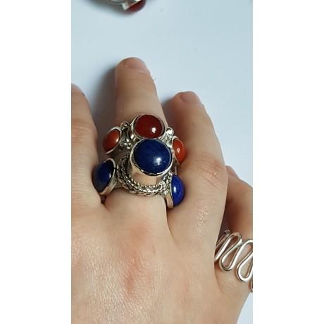 Sterling silver ring with natural lapislazuli Dare Devils, Bijuterii de argint lucrate manual, handmade