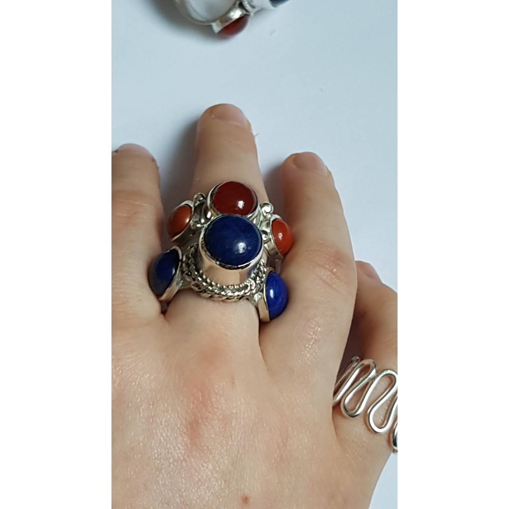 Sterling silver ring with natural lapislazuli Dare Devils
