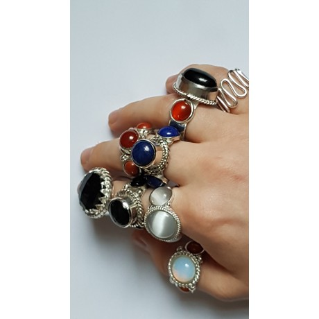 Sterling silver ring with natural lapislazuli Dare Devils, Bijuterii de argint lucrate manual, handmade
