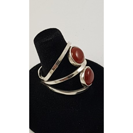 Sterling silver ring Multiplied by Red, Bijuterii de argint lucrate manual, handmade
