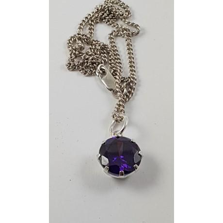 Sterling silver pendant Mauve Sparkles, Bijuterii de argint lucrate manual, handmade