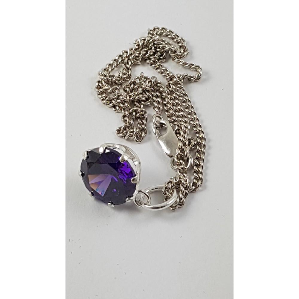 Sterling silver pendant Mauve Sparkles