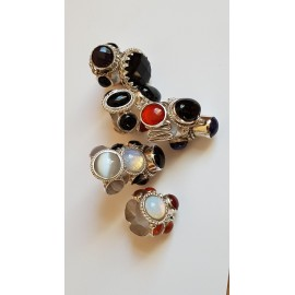 Sterling silver ring with natural opal and carnelian Light Catchers