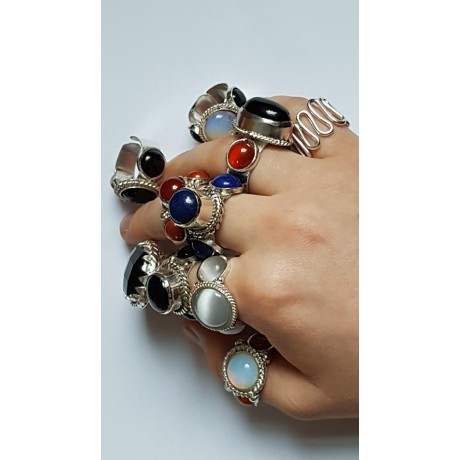 Sterling silver ring with natural opal and carnelian Light Catchers, Bijuterii de argint lucrate manual, handmade
