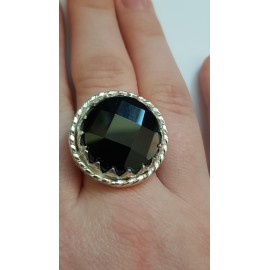Sterling silver ring with natural onyx Dark Stamina