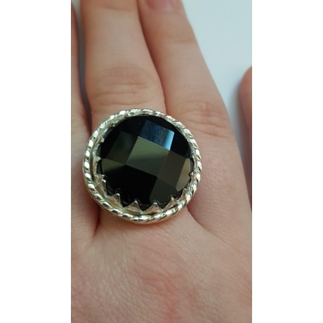 Sterling silver ring with natural onyx Dark Stamina, Bijuterii de argint lucrate manual, handmade