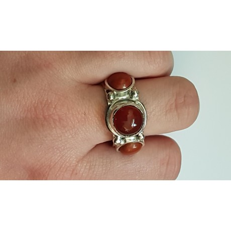 Sterling silver ring with natural carnelian & jaspers Red Wigs, Bijuterii de argint lucrate manual, handmade