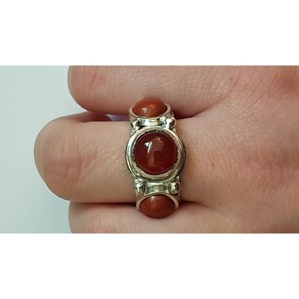 Sterling silver ring with natural carnelian & jaspers Red Wigs