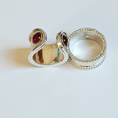 Sterling silver ring with natural carnelian Epater, Bijuterii de argint lucrate manual, handmade