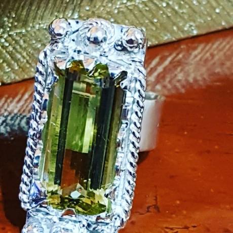 Sterling silver ring with natural quartz lemon, Bijuterii de argint lucrate manual, handmade