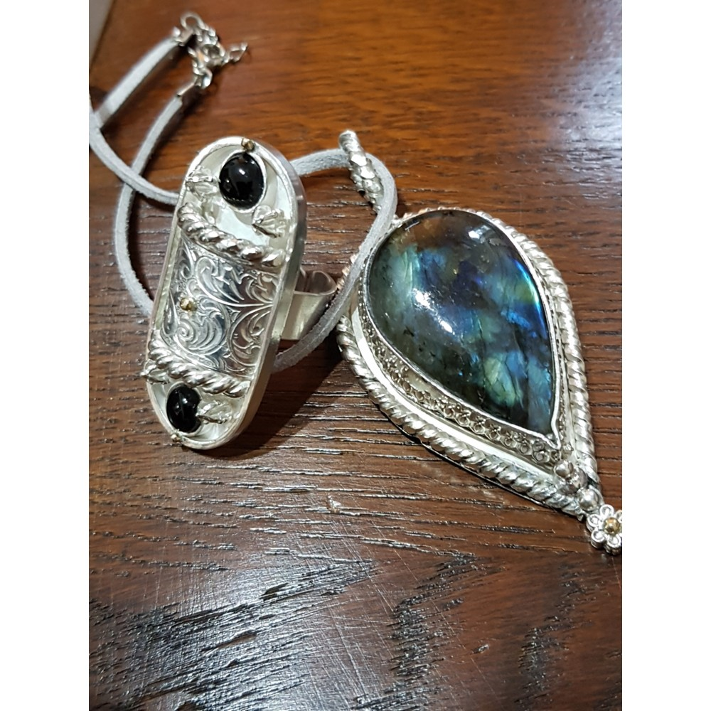Large Sterling Silver pendant with natural labradorite stone Fire Blossoms
