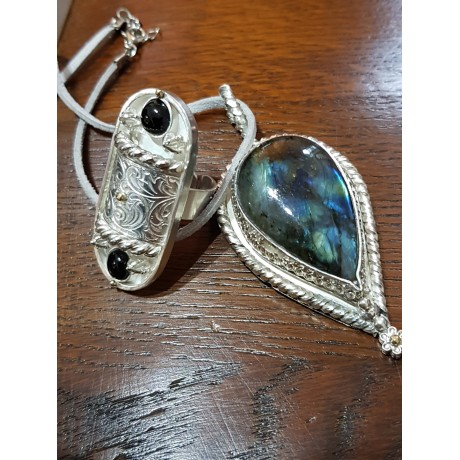 Large Sterling Silver pendant with natural labradorite stone Fire Blossoms, Bijuterii de argint lucrate manual, handmade