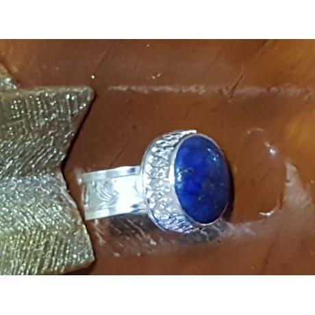 Sterling silver ring with natural lapislazuli Blue Dew , Bijuterii de argint lucrate manual, handmade