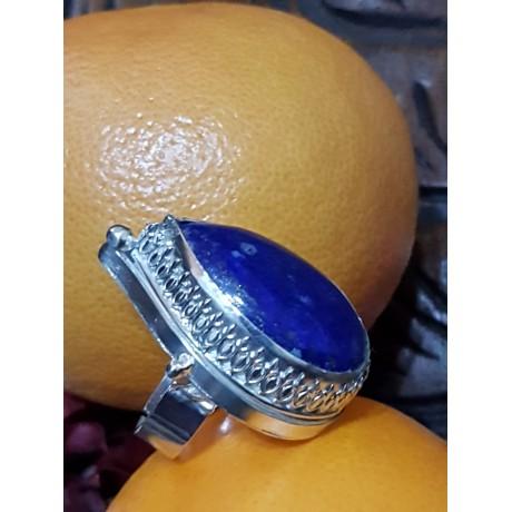 Large Sterling Silver ring with natural lapislazuli QUEEN, Bijuterii de argint lucrate manual, handmade