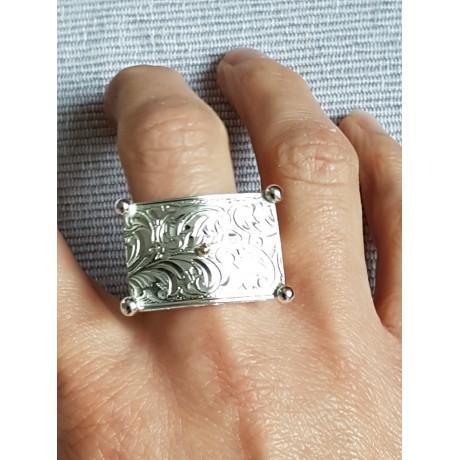 Sterling silver ring Silver  Parchment, Bijuterii de argint lucrate manual, handmade