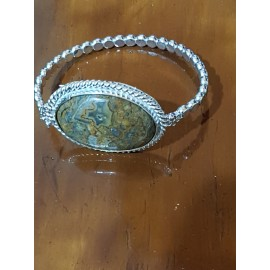 Sterling silver bracelet with natural agate stone