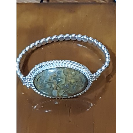 Sterling silver bracelet with natural agate stone, Bijuterii de argint lucrate manual, handmade