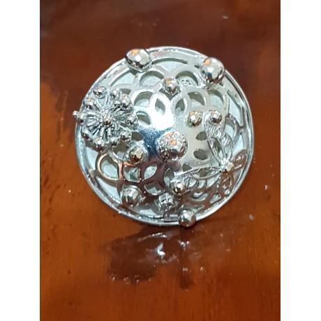 Large Sterling Silver ring with gold Flor Topia , Bijuterii de argint lucrate manual, handmade