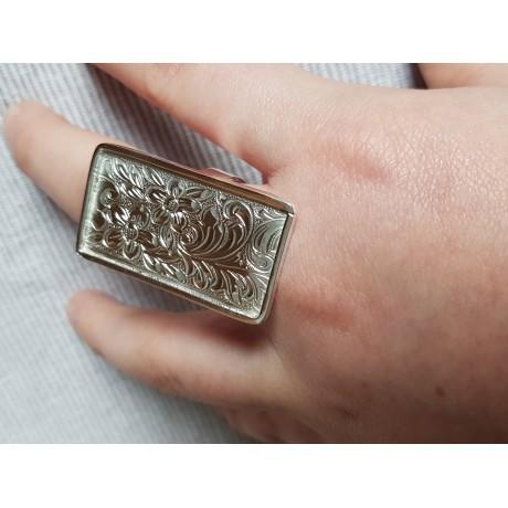 Sterling silver ring Flower Bed, Bijuterii de argint lucrate manual, handmade
