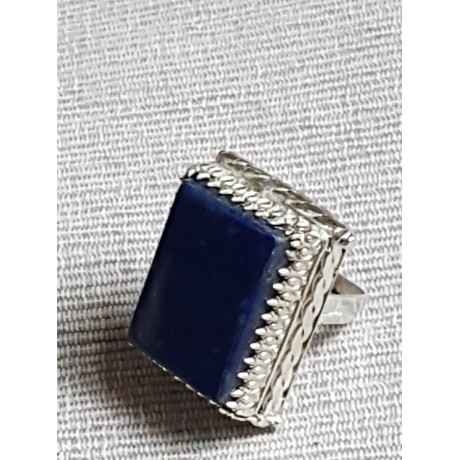 Large Sterling Silver ring with natural lapislazuli Blue Dive, Bijuterii de argint lucrate manual, handmade