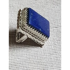 Large Sterling Silver ring with natural lapislazuli Blue Dive