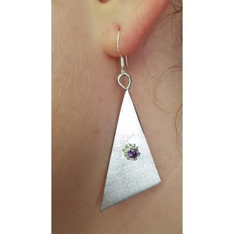 Sterling silver earrings with amethyst stone Amethyst Highway, Bijuterii de argint lucrate manual, handmade