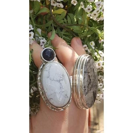 Large Sterling Silver ring with natural tourmaline quartz stone Absolute Silk Lure, Bijuterii de argint lucrate manual, handmade