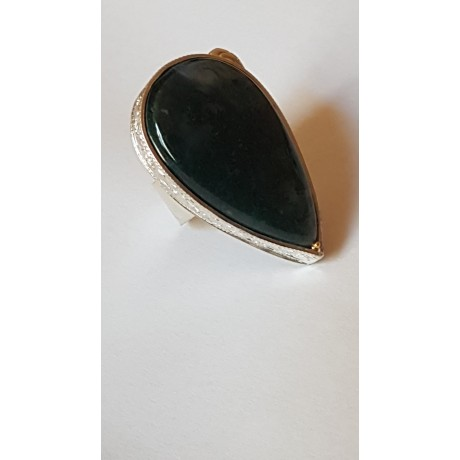 Sterling silver ring with natural moss agate Piquant Moss, Bijuterii de argint lucrate manual, handmade