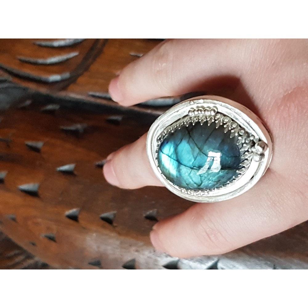 Sterling silver ring with natural labradorite stone Drop of Glory