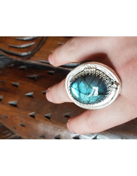 Sterling silver ring with natural labradorite stone Drop of Glory, Bijuterii de argint lucrate manual, handmade