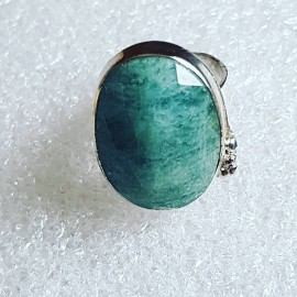 Sterling silver ring with natural aquamarine stone A Good Sprinkle of Green
