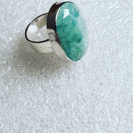 Sterling silver ring with natural aquamarine stone A Good Sprinkle of Green , Bijuterii de argint lucrate manual, handmade