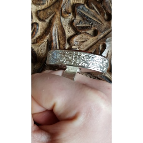 Large massive Sterling silver ring with natural iron tiger MARVEL, Bijuterii de argint lucrate manual, handmade