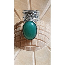 Sterling silver ring with natural aventurine stone Bold Squad