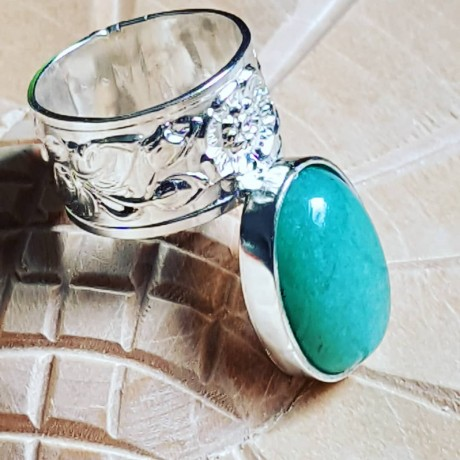 Sterling silver ring with natural aventurine stone Bold Squad, Bijuterii de argint lucrate manual, handmade
