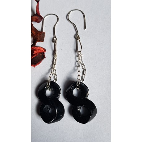 Sterling silver earrings with natural agate stones Black Infinity, Bijuterii de argint lucrate manual, handmade